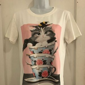 Auth Gucci Women Cat in the Cup Tee Ivory Sz S/M